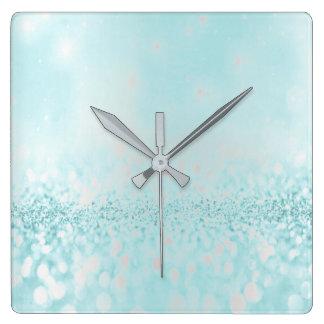 Horloge Carrée Océan métallique minimal Tiffany de gris argenté