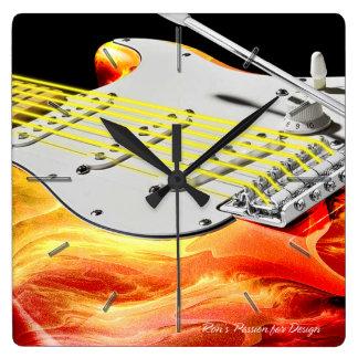 Horloge Carrée Options d'horloges murales de l'art 2 de guitare