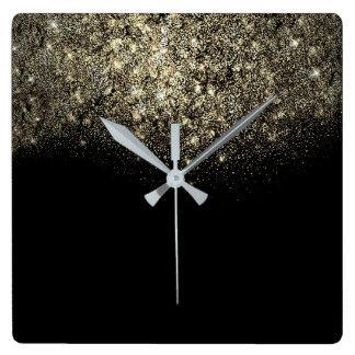Horloge Carrée Or minimal de sépia de confettis de parties