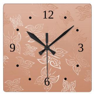 Horloge Carrée Or rose de papillons