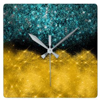 Horloge Carrée Or urbain de Teal de confettis de parties