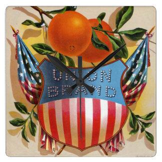 Horloge Carrée Oranges de marque des syndicats, étiquette de