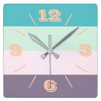 Horloge Carrée Pastel coloré