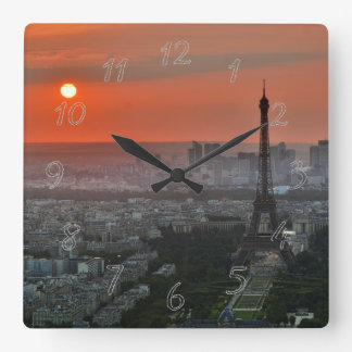 Horloge Carrée Paysage de Paris