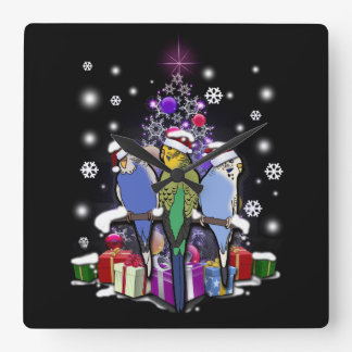 Horloge Carrée Perruches avec le cadeau et les flocons de neige