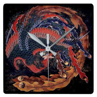 Horloge Carrée Phoenix par Hokusai - mains d'horloge grises