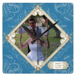 Horloge Carrée Photographie bleue de mariage d'hortensia de