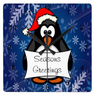 Horloge Carrée Pingouin de Noël