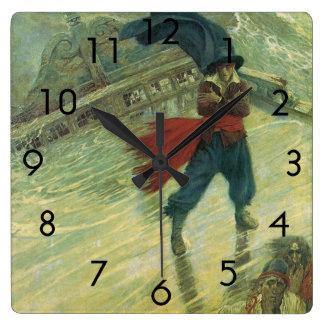Horloge Carrée Pirate vintage, le Néerlandais de vol par Howard