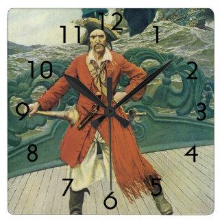 Horloge Carrée Pirates vintages, capitaine Keitt par Howard Pyle