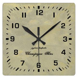 Horloge Carrée Plâtre métallique d'argent et d'or