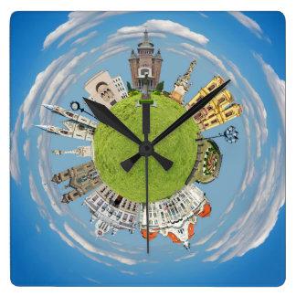Horloge Carrée point de repère minuscule de planète de la