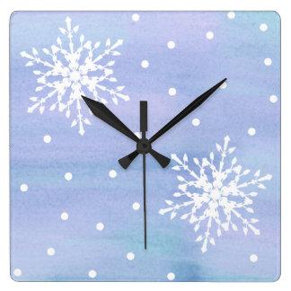 Horloge Carrée Pois blanc pourpre de flocons de neige de ciel