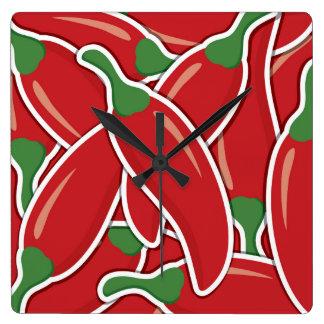 Horloge Carrée Poivrons de piments rouges géniaux