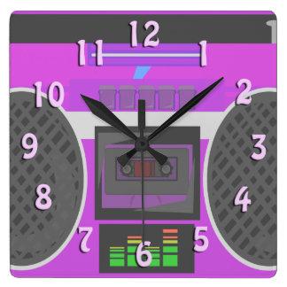 Horloge Carrée Pourpre impressionnant Boombox d'années '80