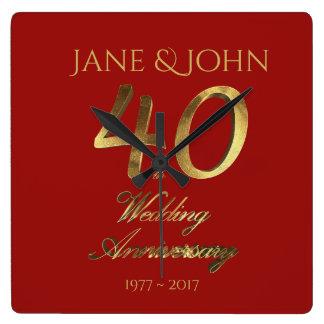 Horloge Carrée quarantième Or rouge de rouge de mariage
