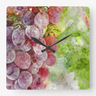 Horloge Carrée Raisins de vin rouge sur la vigne
