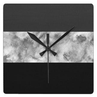 Horloge Carrée Rayures de bloc de gris de charbon de bois