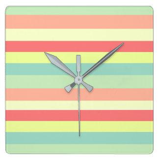 Horloge Carrée Rayures d'été