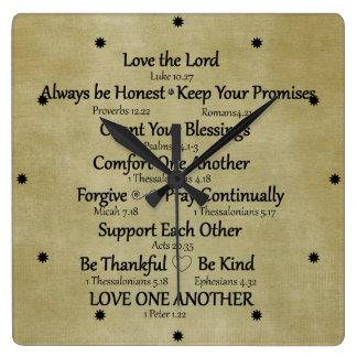 Horloge Carrée Règles de famille de vers de bible