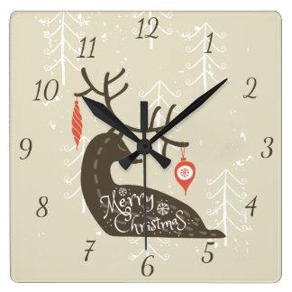 Horloge Carrée Renne de Joyeux Noël confortable