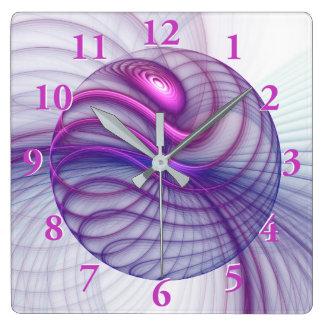 Horloge Carrée Rose abstrait d'art de fractale de beaux