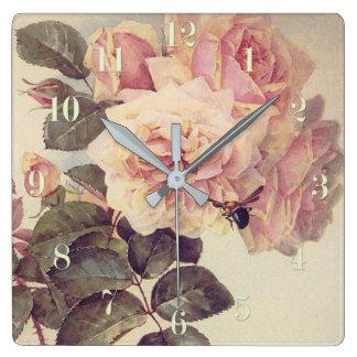 Horloge Carrée Roses et des beaux-arts de bourdon
