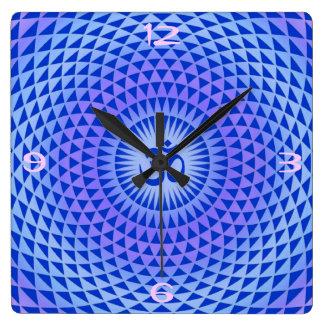 Horloge Carrée Roue pourpre OM de méditation de fleur de Lotus