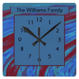 Horloge Carrée Rouge bleu abstrait moderne audacieux