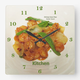 Horloge Carrée Sauce à huître de pois de neige de crevettes,