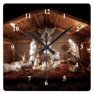 Horloge Carrée Scène de Manger de nativité de Jésus d'avènement