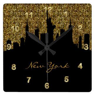 Horloge Carrée Scintillement d'or de confettis de l'horizon | de