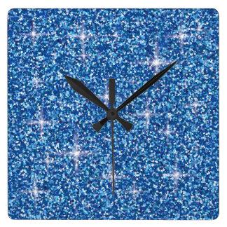 Horloge Carrée Scintillement iridescent bleu