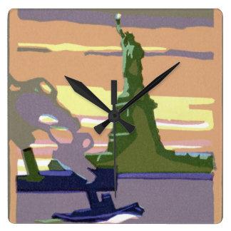 Horloge Carrée Statue de la liberté, New York City, voyage
