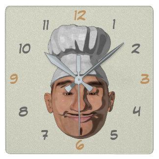 Horloge Carrée Style de bande dessinée de restaurant de chef