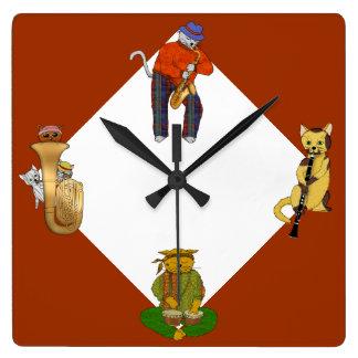 Horloge Carrée Temps musical de chat