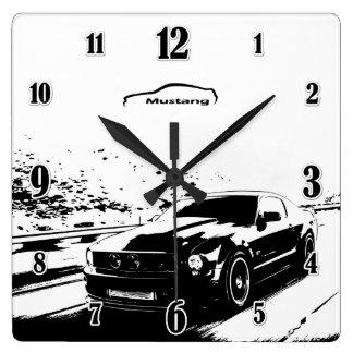 Horloge Carrée Tir de roulement de mustang