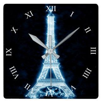 Horloge Carrée Tour Eiffel dans l'horloge murale au néon blanche