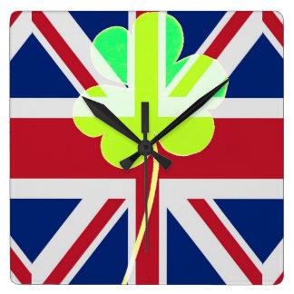 Horloge Carrée Trèfle britannique irlandais St Patrick R-U de