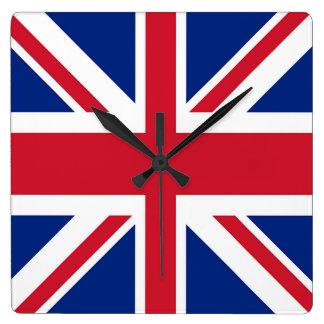 Horloge Carrée Union Jack - drapeau du Royaume-Uni