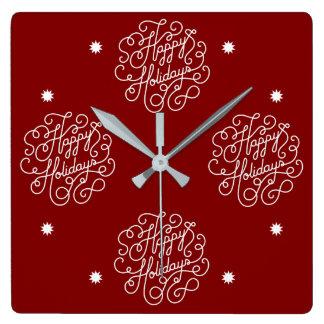 Horloge Carrée Vacances heureuses élégantes rouges et blanches