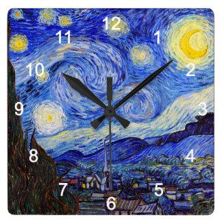 "Horloge Carrée VanGoghの""Starry Night""の壁掛け時計,No.01"