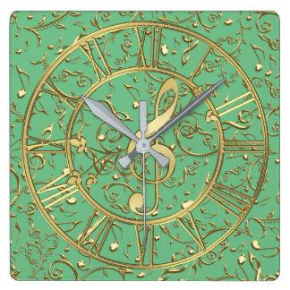 Horloge Carrée Vert ou votre couleur avec des notes de musique