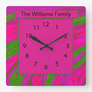Horloge Carrée Vert rose abstrait moderne audacieux