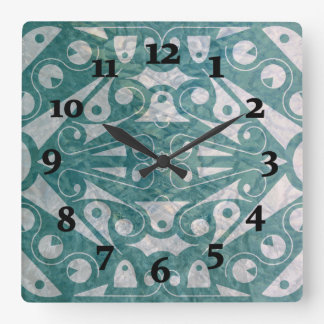 Horloge Carrée VERT SCANDINAVE d'ART DÉCO par Slipperywindow