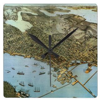 Horloge Carrée Ville antique de vue aérienne de carte de Seattle