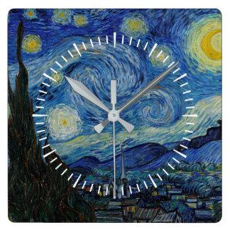 Horloge Carrée Vincent van Gogh - le chef d'oeuvre de la nuit