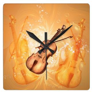 Horloge Carrée Violon merveilleux avec l'arc de violon avec des