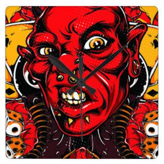 Horloge Carrée Visage de diable
