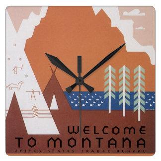 Horloge Carrée Voir l'accueil de l'Amérique au Montana, voyage